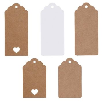 5 Style 50 Pcs DIY Kraft Paper Vintage Christmas Gift Tags Scallop Label Luggage Wedding Blank + Strings For table favor tags