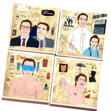 American Psycho Illustration Ceramic Tile Coasters – Set of 4