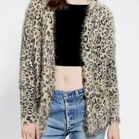 Urban Outfitters - Sparkle & Fade Fuzzy Leopard Cardigan