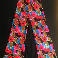 Vintage 70s Psychedelic Flower Jersey Cotton Blend High Waisted Wide Leg Flare Pants XS S24