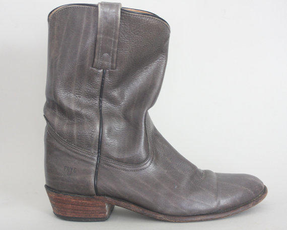 Vintage frye boots 1980s grey western from duet vintage duet