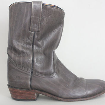 Vintage FRYE Boots - 1980s GREY Western Boots Made in USA - men's 9.5 D / womens 11.5