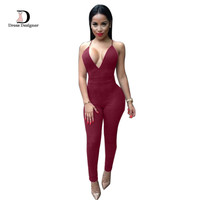 Sleeveless Elegant Jumpsuit 2016 New Fashion Bodycon Deep V neck Halter Cross Suede Sexy Club Jumpsuits and Rompers for Women