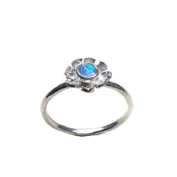 Thin silver ring , flower ring , small flower ring , stacking ring , sterling silver ring , birthstone ring  , opal ring  , simple ring