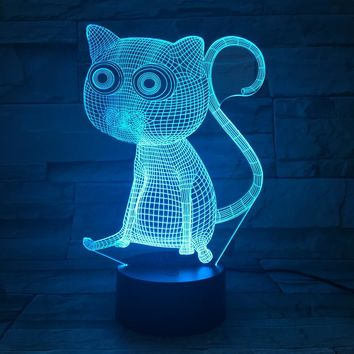 Big Eyes Cat 3D LED Night Light Lamp