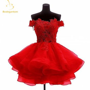 Bealegantom New Mini A-Line Short Homecoming Dresses 2017 With Organza Appliques Prom Party Dresses Graduation Dress QA1110