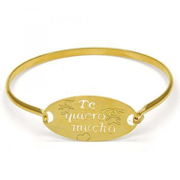 Stainless Steel 07.110.0010.05 Individual Bangle, Polished Finish, Golden Tone (04 MM Thickness, Size 5 - 2.50 Diameter)