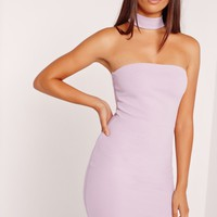 Missguided - Choker Neck Bandeau Curve Hem Dress Lilac