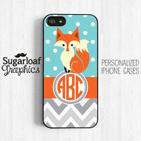 Cute Fox Personalized Monogram iPhone 5 Case iPhone 5s iPhone 5c Case iPhone 4 iPhone 4s Case Samsung Galaxy S3 S4 Pk07