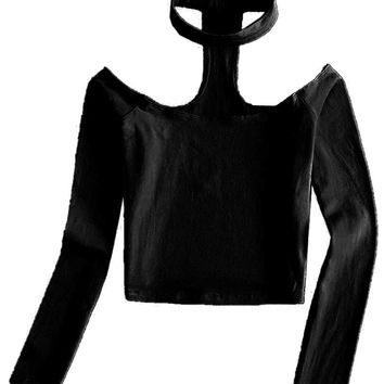 Black Halter Off Shoulder Long Sleeve Crop Top