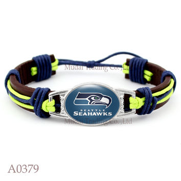 (10 pieces/lot) Adjustable Seattle Leather Cuff Seahawks Bracelet for Men Women Bangle Casual Football Team Wristband Jewelry
