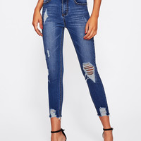 Bleach Wash Distressed Jeans -SheIn(Sheinside)