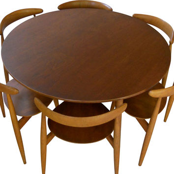 Wegner Table w/ 6 Heart Chairs, 1952