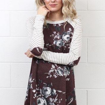 Striped Sleeve + Floral Print Body w/ Elbow Patch L/S {Raisin}