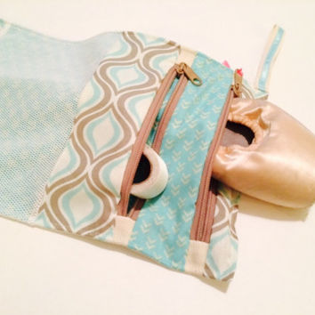 2 Pocket Pointe Shoe Bag Newsie  -ballet shoe bag, dance bag, ballet bag, dancer gift, travel bag, ballerina gift, toy bag, stocking stuffer