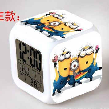 Cute Minion Digital Alarm Clock 7 Colors Changing LED Wake Up Light Clock Kids Cartoon Alarm Clock