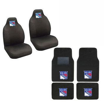 Licensed Official NHL New York Rangers Car Truck Seat Covers & Front Back Carpet Floor Mats Set