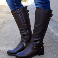 Mesa Wide Calf Riding Boot by Easy Street {Brown}