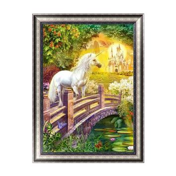 5D Diy Diamond Embroidered Animal Diamond Mosaic Unicorn & Horse Diamond Painting Cross Stitch Decorative Wall Sticker