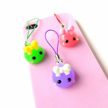 Hoppe Chan Kawaii Planner Charms, Silicone Soft Charm, Earphone Plug, Smart Phone Charm Lanyard, Chibi Cute Squishy, Custom Phone Strap