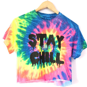 STAY CHILL Rainbow Tie-Dye Graphic Crop Top