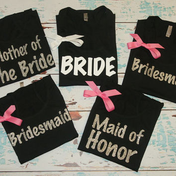 Bride Bridesmaid (7) Tank Top Maid of Honor. Brides Entourage. Coral. Customized Personalized