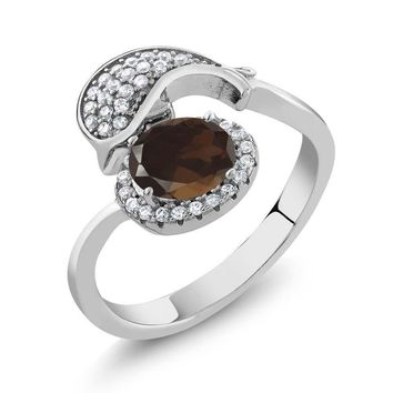 2.01 Ct Oval Brown Smoky Quartz 925 Sterling Silver Dolphin Ring