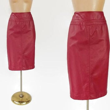 "Vintage 80s Red Leather Skirt | 1980s Leather Pencil Skirt | Crimson Red Leather | Sexy Skirt | Vintage Leather | Size 10 | 32"" Waist"