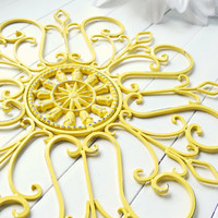 Gift Idea / Wall Decor / Metal Wall Scroll / Outdoor Decor / Wall Medallion / Yellow Decor / Indoor Scroll / Wall Hanging / Customize Colors
