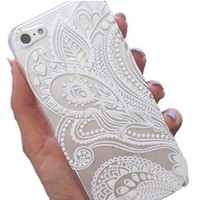 4s Case, LUOLNH Henna White Floral Paisley Flower Hard Plastic Clear Case Silicone Skin Cover for Apple Iphone 4 4G + LUOLNH stuff