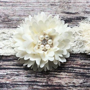 Beautiful Cream Chiffon Rhinestone Lace Headband