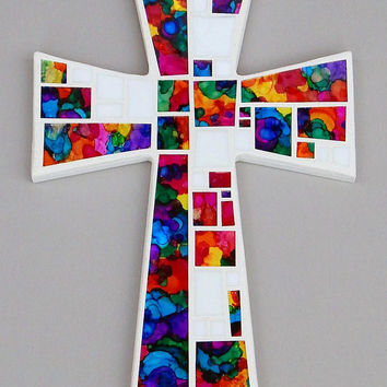"Mosaic Wall Cross, Large, White with White + Hand Painted Abstract Rainbow Glass, Handmade Stained Glass Mosaic Cross Wall Decor, 15"" x 10"""