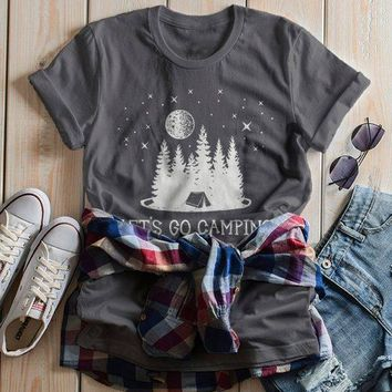 Women's Camping T Shirt Let's Go Camper Shirts Forest Tent Nature TShirt Graphic Tee