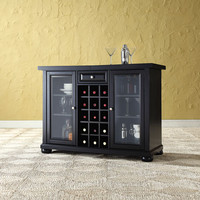 Crosley Furniture KF40002ABK Alexandria Sliding Top Bar Cabinet in Black Finish