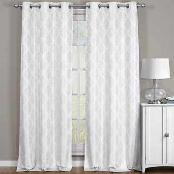 Off-White 76x108 Paisley Thermal Blackout Grommet Curtain Panels (Set of 2)