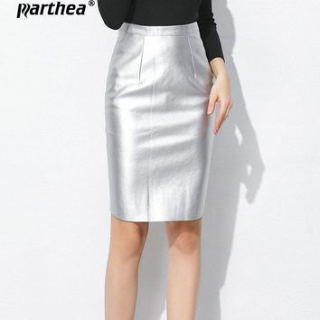 Parthea Autumn Winter New Fashion Glossy Long Pleated Split Zip back Skirts Elastic Waisted Candy Satin A-line Pleated Skirt