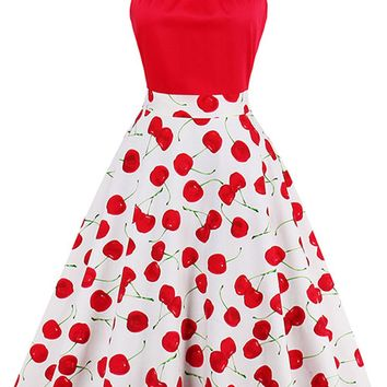 Atomic Red Cherry Swing Dress