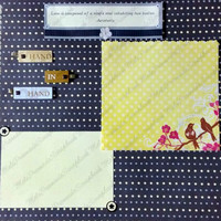 12x12 Premade Wedding Scrapbook Page Layout with Two Birds on a Cherry Blossom Branch