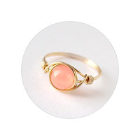 Coral Jade ring - prom rings