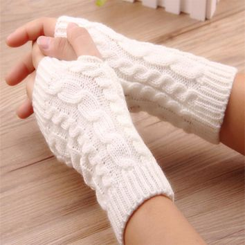 Fashion Soft Warm Mitten Gloves female Unisex Men Women Crochet Knitted Fingerless Wrist Luvas Guanti Mitt Lady Winter Gloves