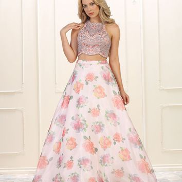 Long Prom Dress Two Piece Set Formal Floral Print Ball Gown