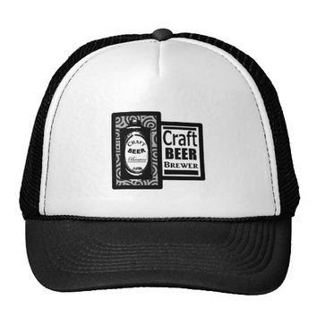 Craft Beer Brewer Black & White Cone Top Trucker Hat