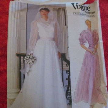 Sale 1980's Vogue Designer Original Sewing Pattern, 1024!  Choose from 2, Size 8 & Size 12, Wedding Dresses, Formal Gown, Evening Gown.