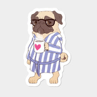 Snug As A Pug With A Mug Sticker By MaureenCreates Design By Humans