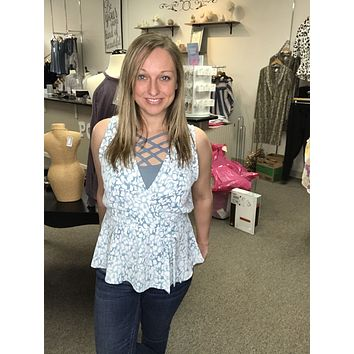 Abstract Print Top - Blue
