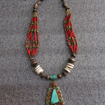 Coral and Turquoise Necklace, Brass Artisan Jewelry from Nepal, Tibetan Necklace, Brass Necklace