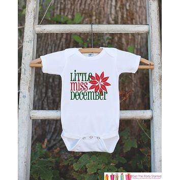 Little Miss December Onepiece Bodysuit - Take Home Outfit For Newborn Baby Girls - Winter Poinsettia Infant Going Home Hospital Onepiece
