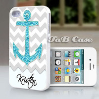 Nautical Glitter Anchor Personalized iPhone 5 or iPhone 4 Case. FREE SHIPPING - Worldwide.