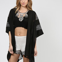 V-Back Side Slit Breezy Kimono - Black