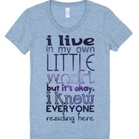 My Own Little World Tee-Female Athletic Blue T-Shirt